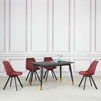 Alexander Black Marble Rectangle Dining Table - 130cm